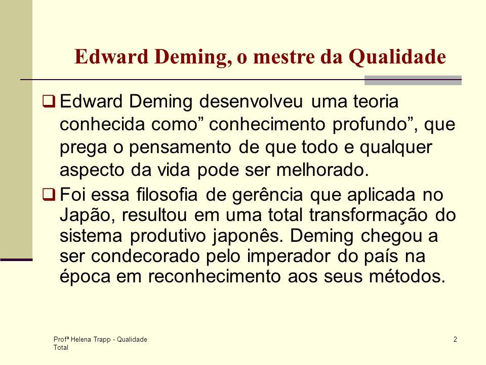 Profª Helena Trapp - Qualidade Total 2 Edward Deming desenvolveu uma teoria conhecida como conhecimento profundo, que prega o pensamento de que todo e