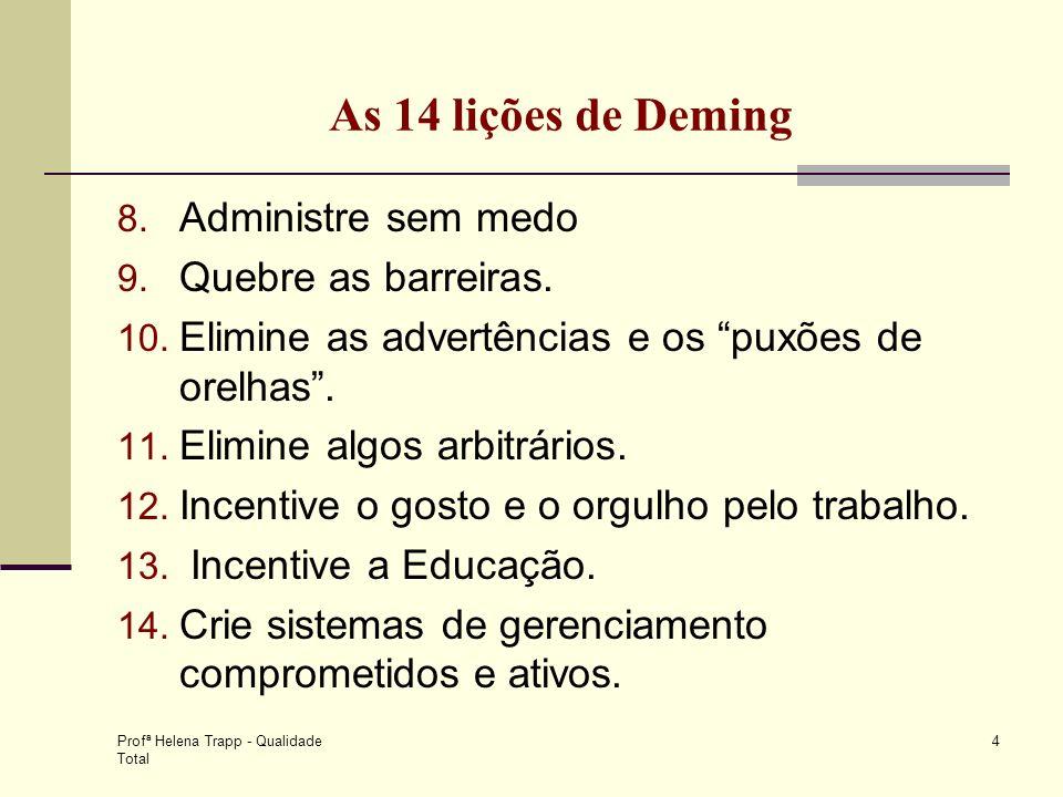 Profª Helena Trapp - Qualidade Total 4 As 14 lições de Deming 8. Administre sem medo 9. Quebre as barreiras. 10. Elimine as advertências e os puxões d