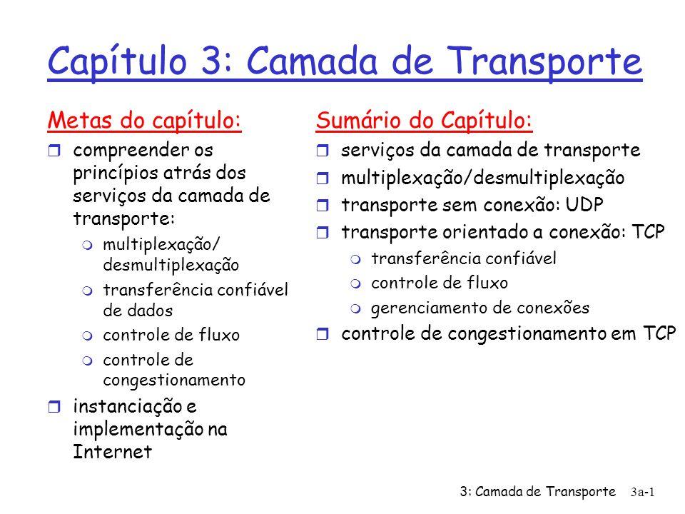 3: Camada de Transporte 3a-1 Capítulo 3: Camada de Transporte Metas do capítulo: r compreender os princípios atrás dos serviços da camada de transport