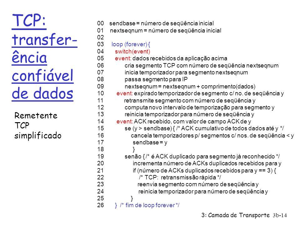 3: Camada de Transporte 3b-14 TCP: transfer- ência confiável de dados 00 sendbase = número de seqüência inicial 01 nextseqnum = número de seqüência in