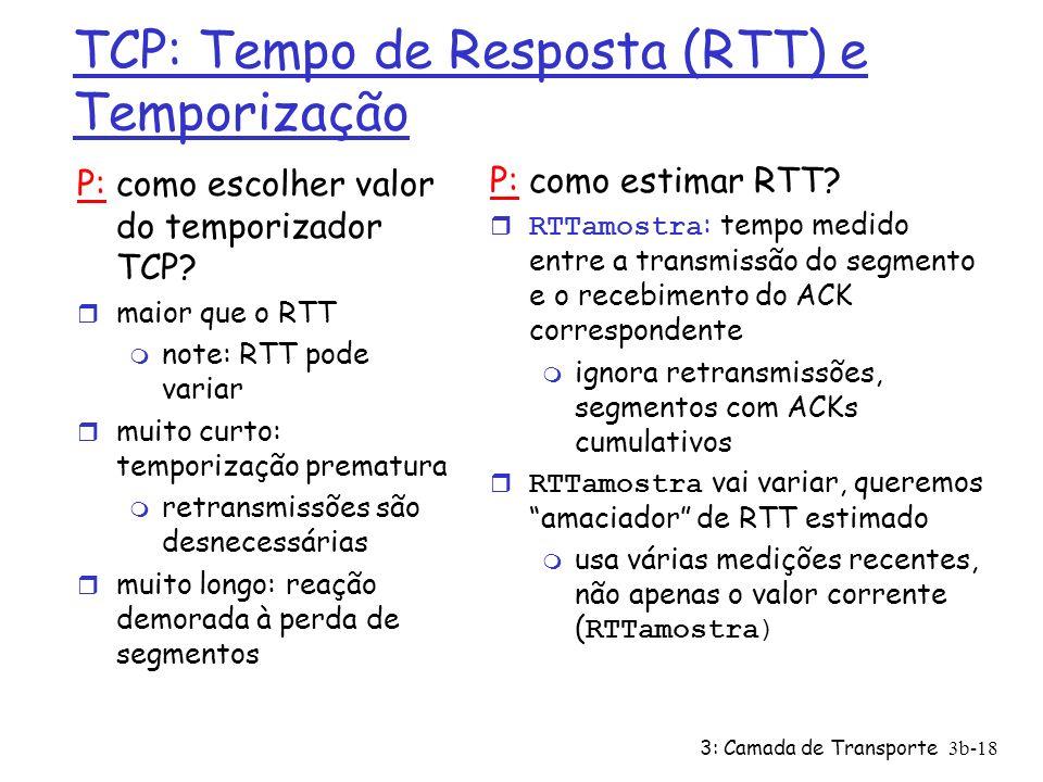 3: Camada de Transporte 3b-18 TCP: Tempo de Resposta (RTT) e Temporização P: como escolher valor do temporizador TCP? r maior que o RTT m note: RTT po