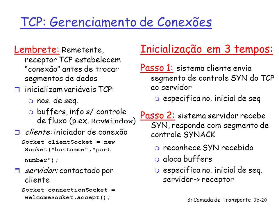 3: Camada de Transporte 3b-20 TCP: Gerenciamento de Conexões Lembrete: Remetente, receptor TCP estabelecem conexão antes de trocar segmentos de dados