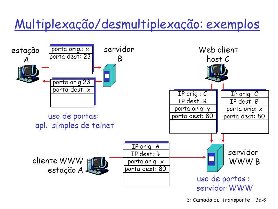 3: Camada de Transporte 3b-17 remetente não esgotaria buffers do receptor por transmitir muito, ou muito rápidamente controle de fluxo TCP: Controle de Fluxo receptor: explicitamente avisa o remetente da quantidade de espaço livre disponível (muda dinamicamente) campo RcvWindow no segmento TCP remetente: mantém a quantidade de dados transmitidos, porém ainda não reconhecidos, menor que o valor mais recente de RcvWindow buffering pelo receptor RcvBuffer = tamanho do Buffer de recepção RcvWindow = espaço vazio no Buffer