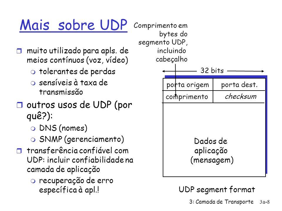 3: Camada de Transporte 3a-9 Checksum UDP Remetente: r trata conteúdo do segmento como sequência de inteiros de 16-bits r campo checksum zerado r checksum: soma (adição usando complemento de 1) do conteúdo do segmento r remetente coloca complemento do valor da soma no campo checksum de UDP Receiver: r computa checksum do segmento recebido r verifica se checksum computado é zero: m NÃO - erro detectado m SIM - nenhum erro detectado.