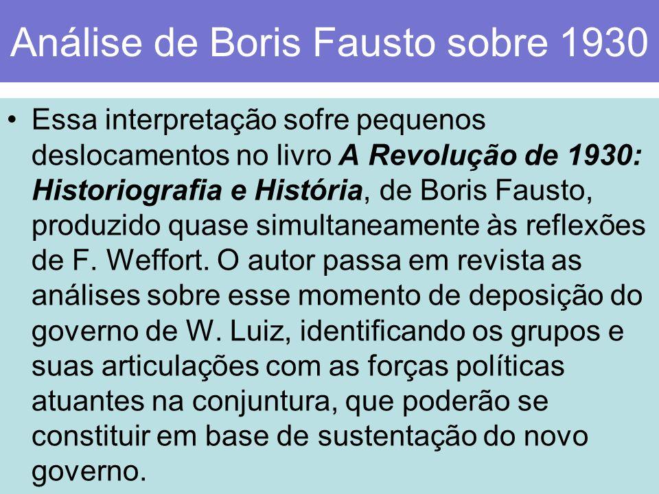 Análise de Boris Fausto sobre 1930 Essa interpretação sofre pequenos deslocamentos no livro A Revolução de 1930: Historiografia e História, de Boris F