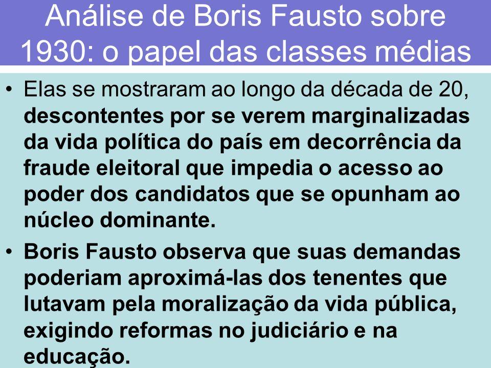 Análise de Boris Fausto sobre 1930: o papel das classes médias Elas se mostraram ao longo da década de 20, descontentes por se verem marginalizadas da