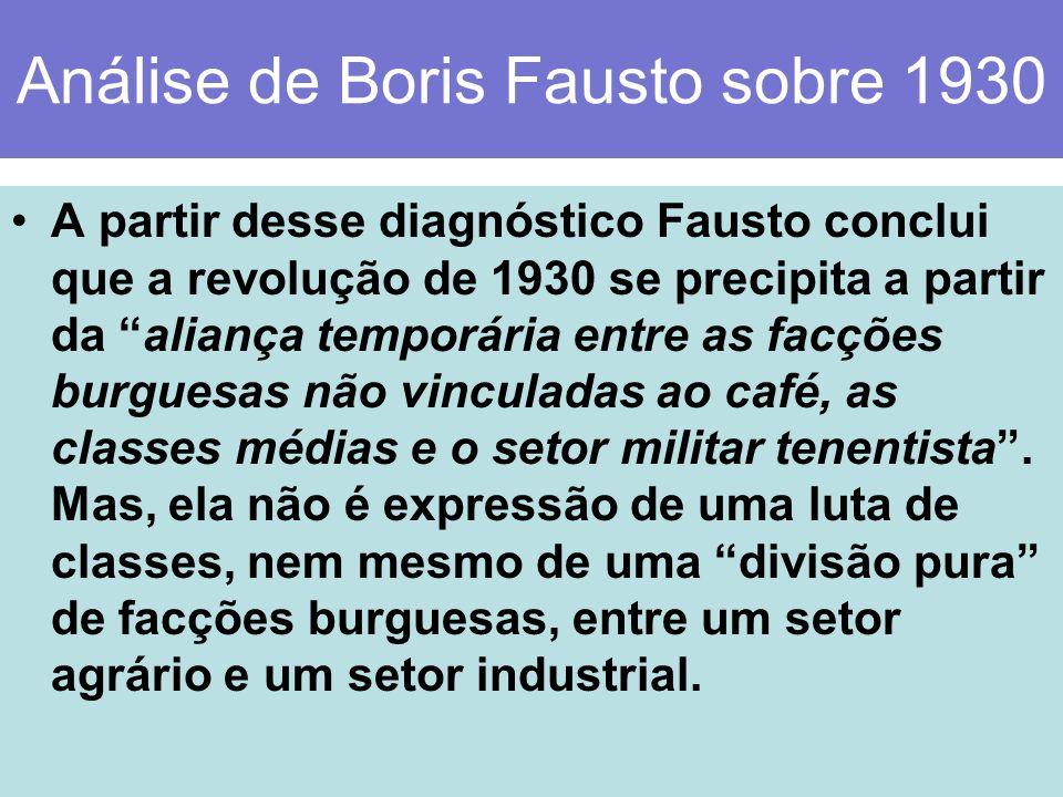 Análise de Boris Fausto sobre 1930 A partir desse diagnóstico Fausto conclui que a revolução de 1930 se precipita a partir da aliança temporária entre