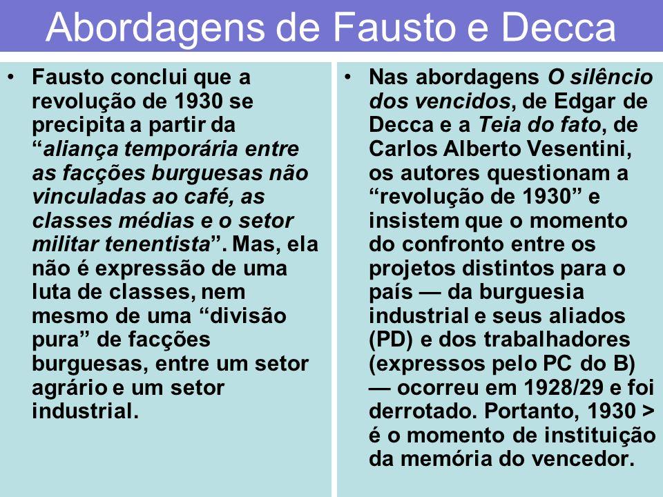 Abordagens de Fausto e Decca Fausto conclui que a revolução de 1930 se precipita a partir daaliança temporária entre as facções burguesas não vinculad