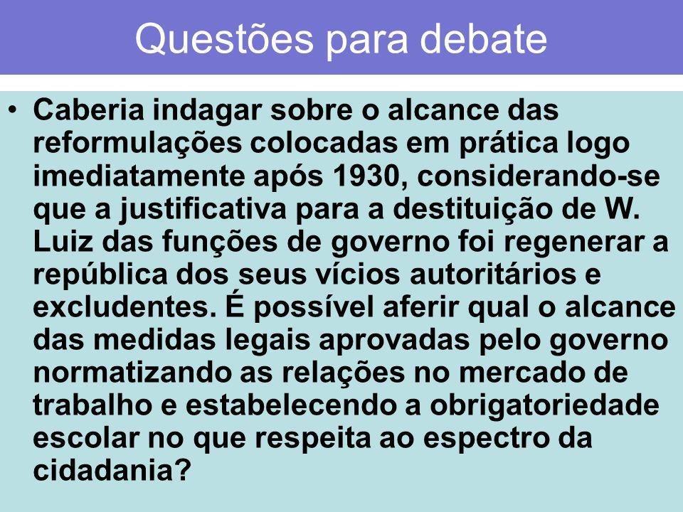 Questões para debate Caberia indagar sobre o alcance das reformulações colocadas em prática logo imediatamente após 1930, considerando-se que a justif