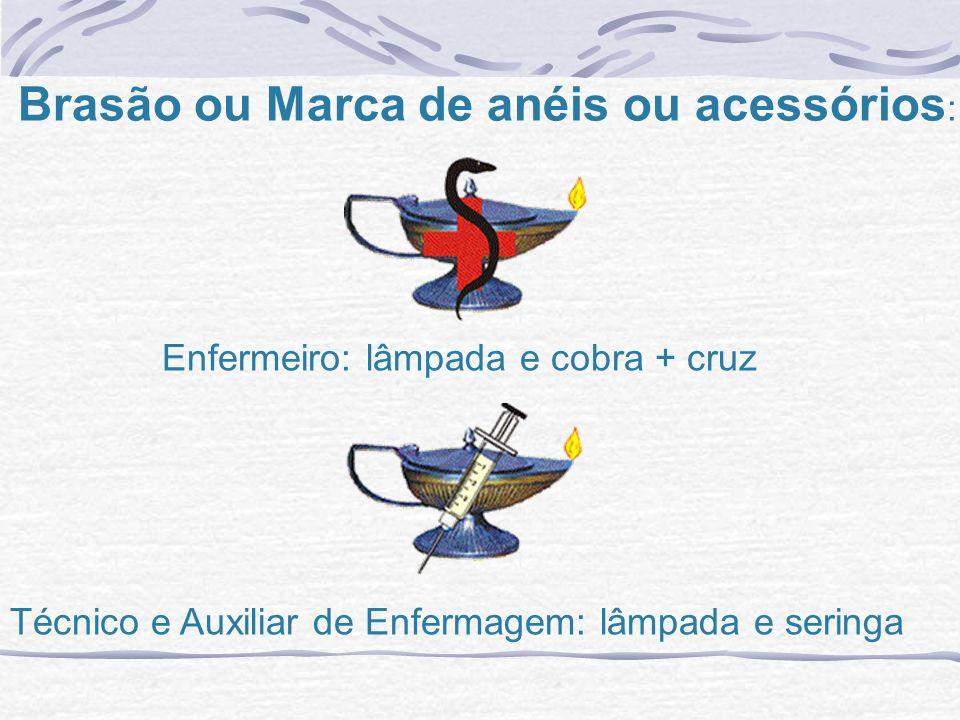 Enfermeiro: lâmpada e cobra + cruz Técnico e Auxiliar de Enfermagem: lâmpada e seringa Brasão ou Marca de anéis ou acessórios :
