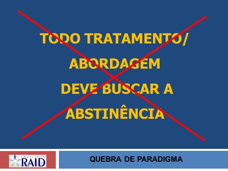 TODO TRATAMENTO/ ABORDAGEM DEVE BUSCAR A ABSTINÊNCIA QUEBRA DE PARADIGMA