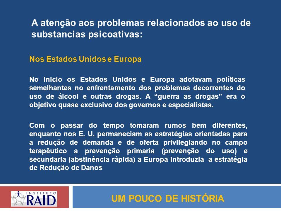 UM POUCO DE HISTÓRIA A atenção aos problemas relacionados ao uso de substancias psicoativas: Nos Estados Unidos e Europa No inicio os Estados Unidos e
