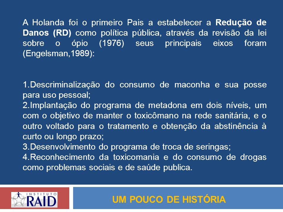 A Holanda foi o primeiro Pais a estabelecer a Redução de Danos (RD) como política pública, através da revisão da lei sobre o ópio (1976) seus principa