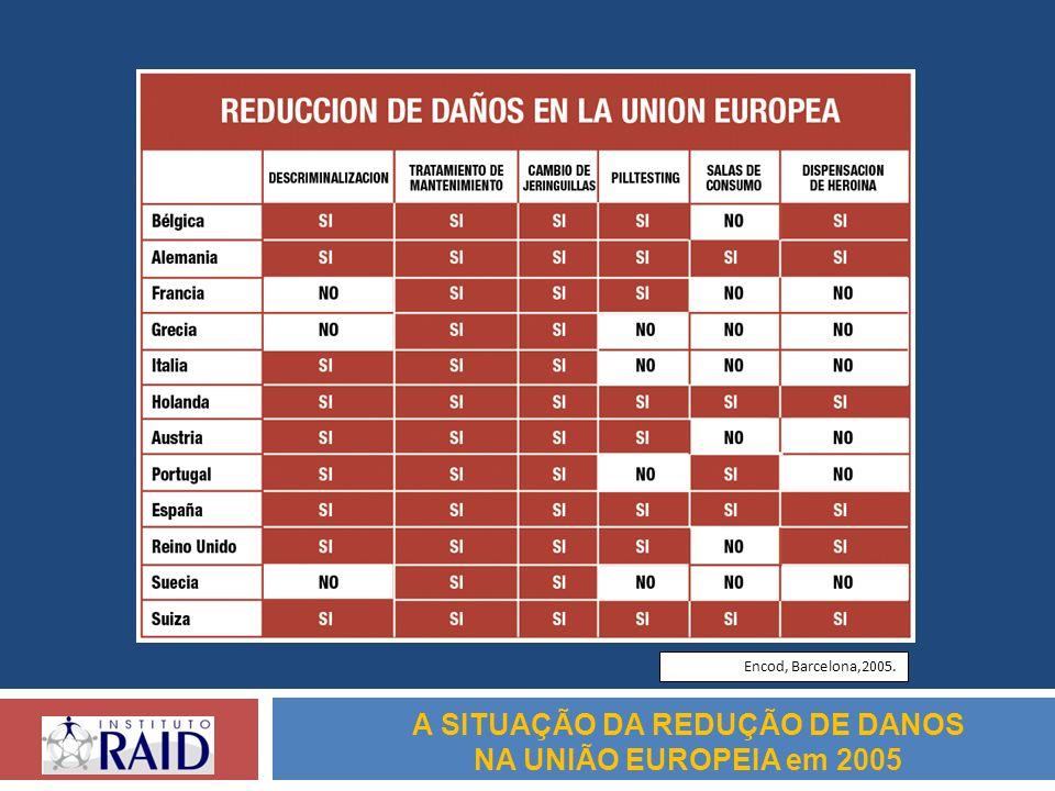 A SITUAÇÃO DA REDUÇÃO DE DANOS NA UNIÃO EUROPEIA em 2005 Encod, Barcelona,2005.