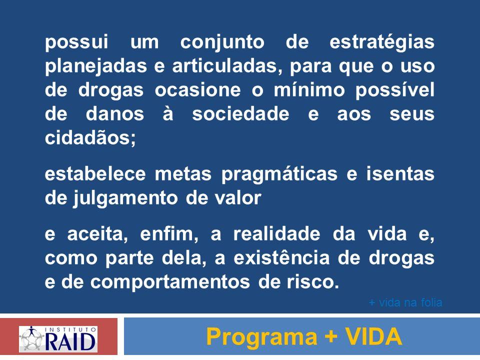 possui um conjunto de estratégias planejadas e articuladas, para que o uso de drogas ocasione o mínimo possível de danos à sociedade e aos seus cidadã