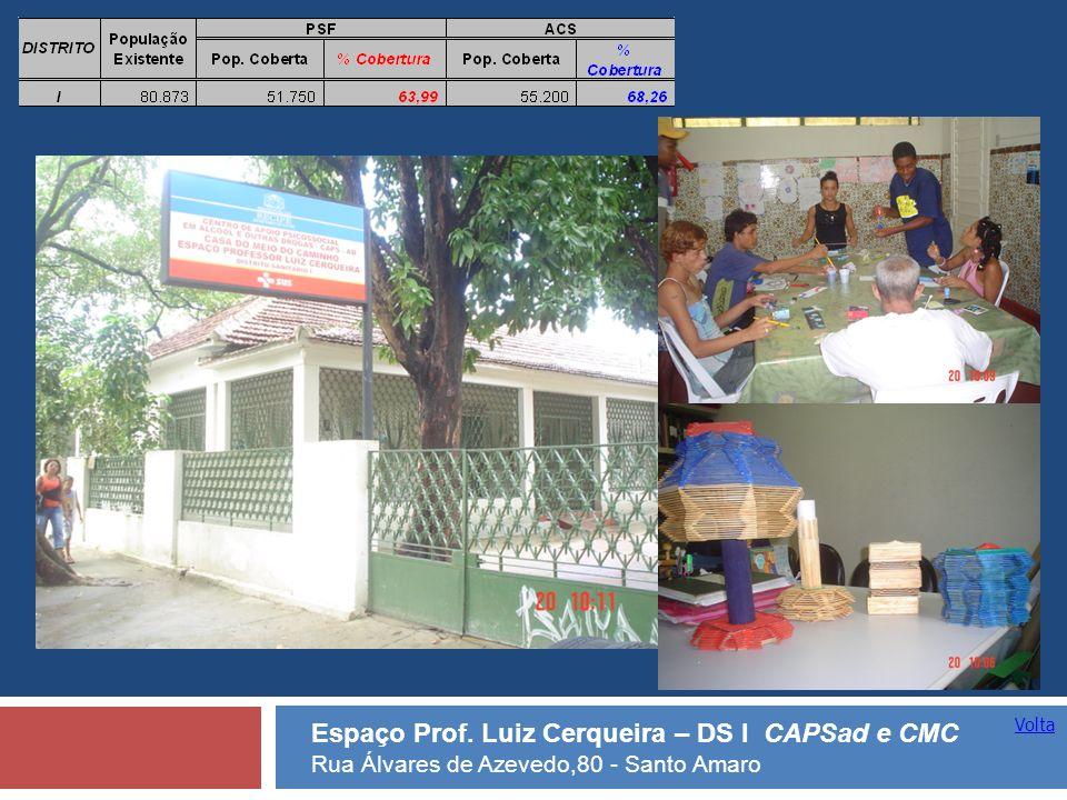 Volta Espaço Prof. Luiz Cerqueira – DS I CAPSad e CMC Rua Álvares de Azevedo,80 - Santo Amaro