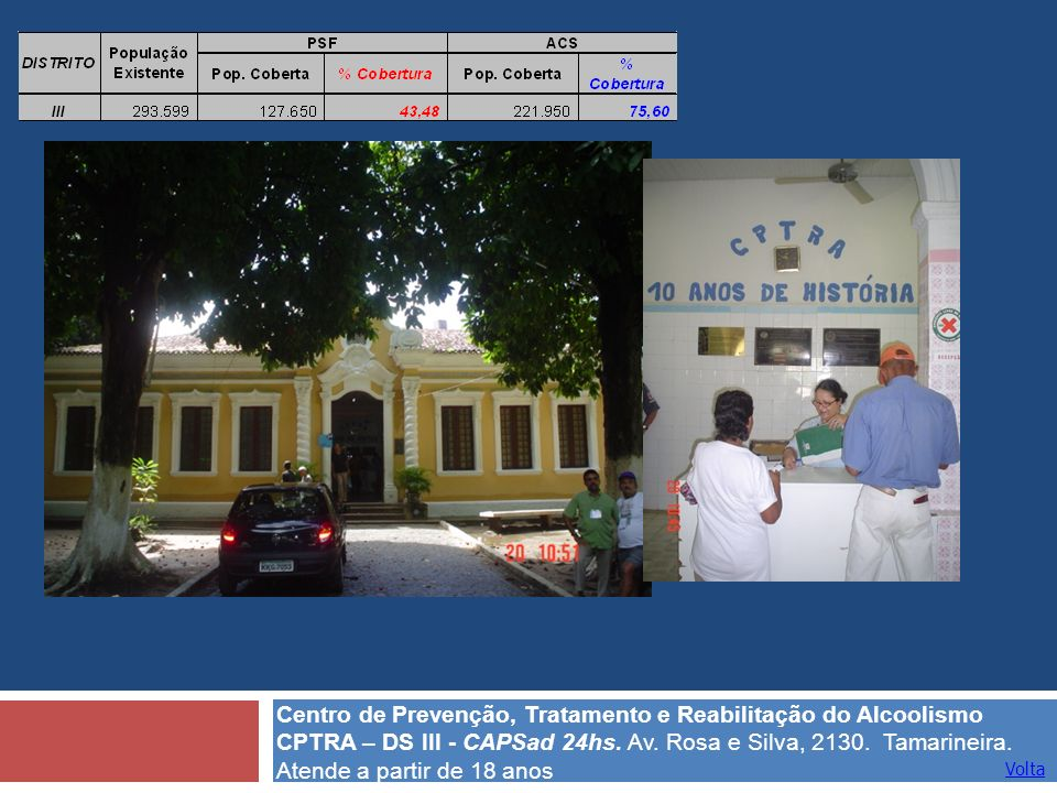 Volta Centro de Prevenção, Tratamento e Reabilitação do Alcoolismo CPTRA – DS III - CAPSad 24hs. Av. Rosa e Silva, 2130. Tamarineira. Atende a partir