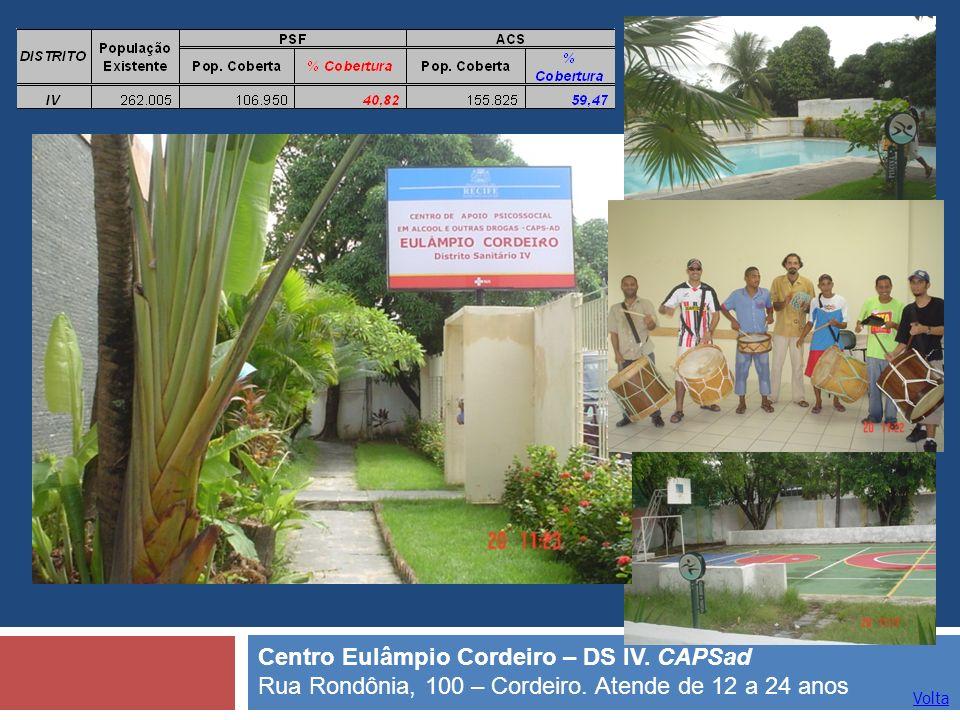 Volta Centro Eulâmpio Cordeiro – DS IV. CAPSad Rua Rondônia, 100 – Cordeiro. Atende de 12 a 24 anos