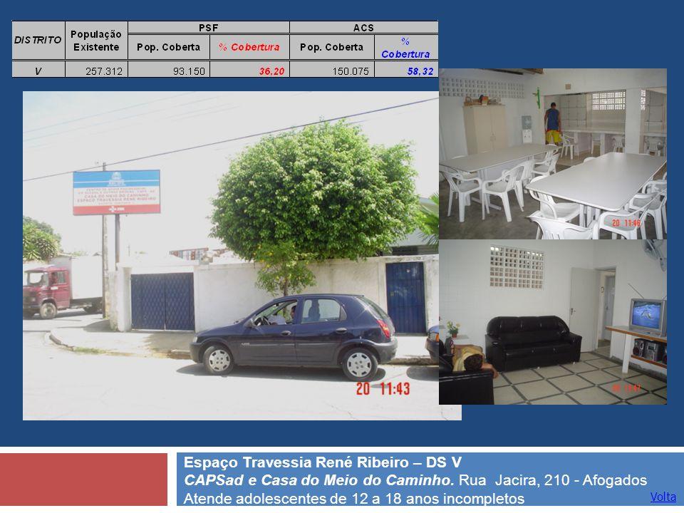 Volta Espaço Travessia René Ribeiro – DS V CAPSad e Casa do Meio do Caminho. Rua Jacira, 210 - Afogados Atende adolescentes de 12 a 18 anos incompleto