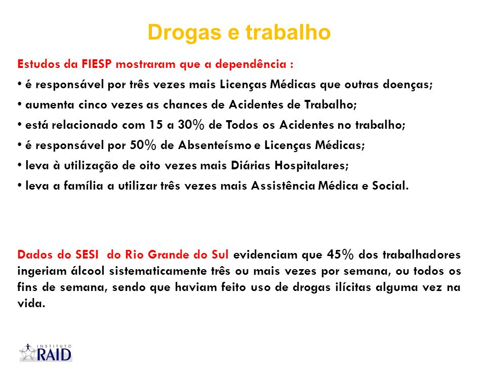 Estudos da FIESP mostraram que a dependência : é responsável por três vezes mais Licenças Médicas que outras doenças; aumenta cinco vezes as chances d