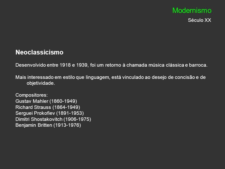Neoclassicismo Desenvolvido entre 1918 e 1939, foi um retorno à chamada música clássica e barroca. Mais interessado em estilo que linguagem, está vinc