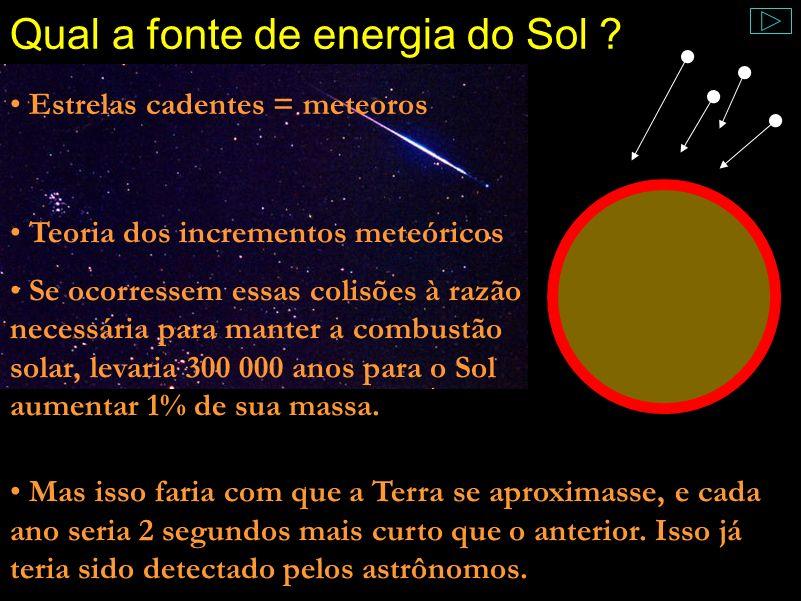 Qual a fonte de energia do Sol ? Comentário: Helmholtz, o primeiro a tentar estudar isso, fez várias suposições. A primeira dela e mais óbvia se lembr