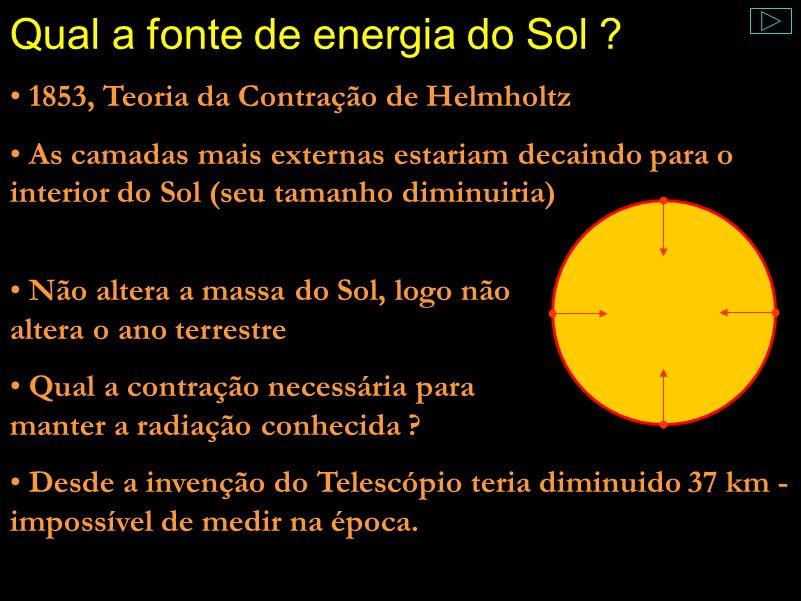 Comentário: A outra hipótese de Helmholtz foi a de que meteoros cairiam constantemente no Sol, provocando brilho tal qual aqui na Terra. Mas a quantid