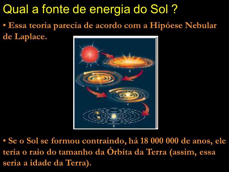 Qual a fonte de energia do Sol ? Comentário: Outra hipótese dele foi a de que as camadas mais externas do Sol estariam decaindo em direção ao centro,