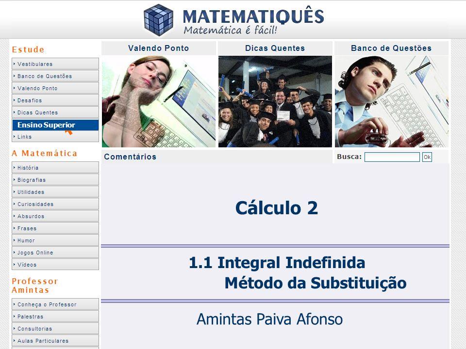 Integral Indefinida Técnicas de Integração (Primitivação) OBJETIVO: Apresentar técnicas para determinar a função F(x) – conhecida como primitiva – tal que F(x) = f(x) ou: As principais técnicas de primitivação, conforme visto no curso FUNÇÕES DE UMA VARIÁVEL são: – INTEGRAÇÃO POR SUBSTITUIÇÃO DE VARIÁVEL – INTEGRAÇÃO POR PARTES – INTEGRAÇÃO POR DECOMPOSIÇÃO EM FRAÇÕES PARCIAIS – INTEGRAÇÃO UTILIZANDO SUBSTITUIÇÕES (POR MEIO DE IDENTIDADES) TRIGONOMÉTRICAS