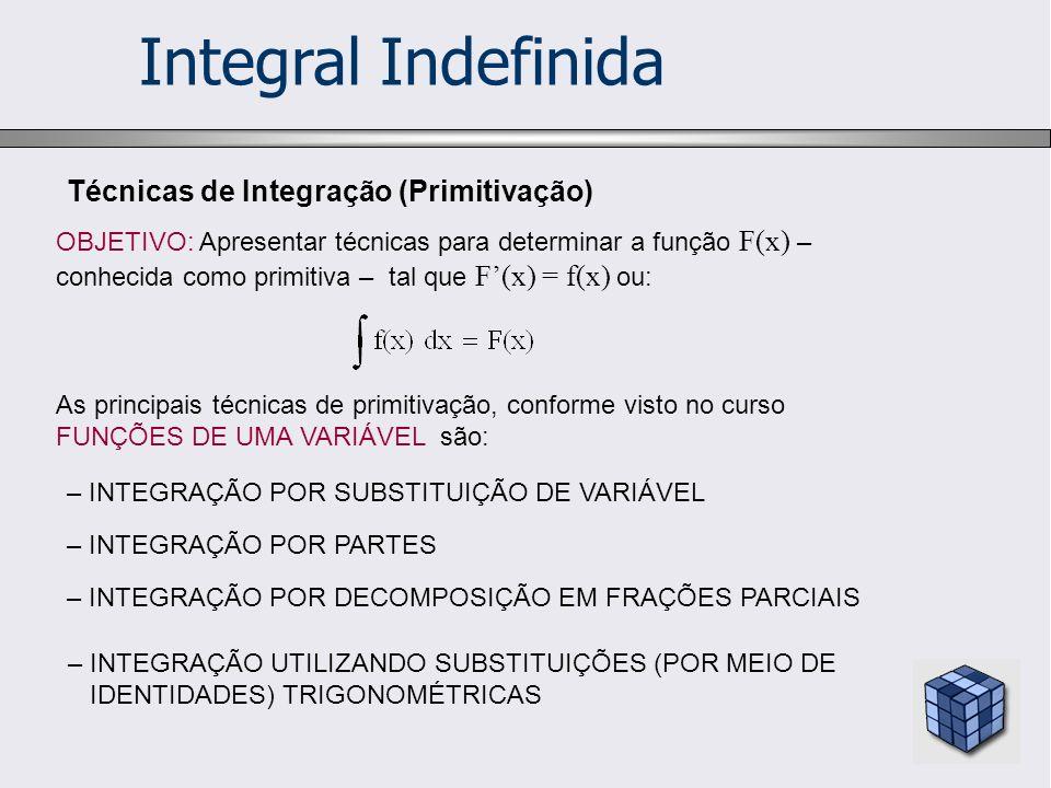 Integral Indefinida Técnicas de Integração (Primitivação) OBJETIVO: Apresentar técnicas para determinar a função F(x) – conhecida como primitiva – tal