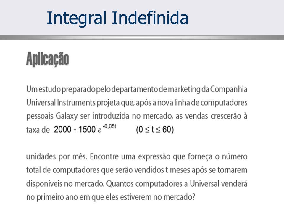 Integral Indefinida Logo, seja: Assim, Sabe-se que: TABELA Mas: