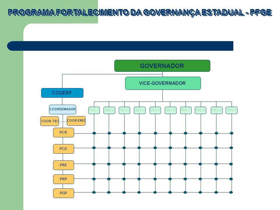 PROGRAMA FORTALECIMENTO DA GOVERNANÇA ESTADUAL - PFGE GOVERNADOR VICE-GOVERNADOR COGERF COORDENADOR COOR.