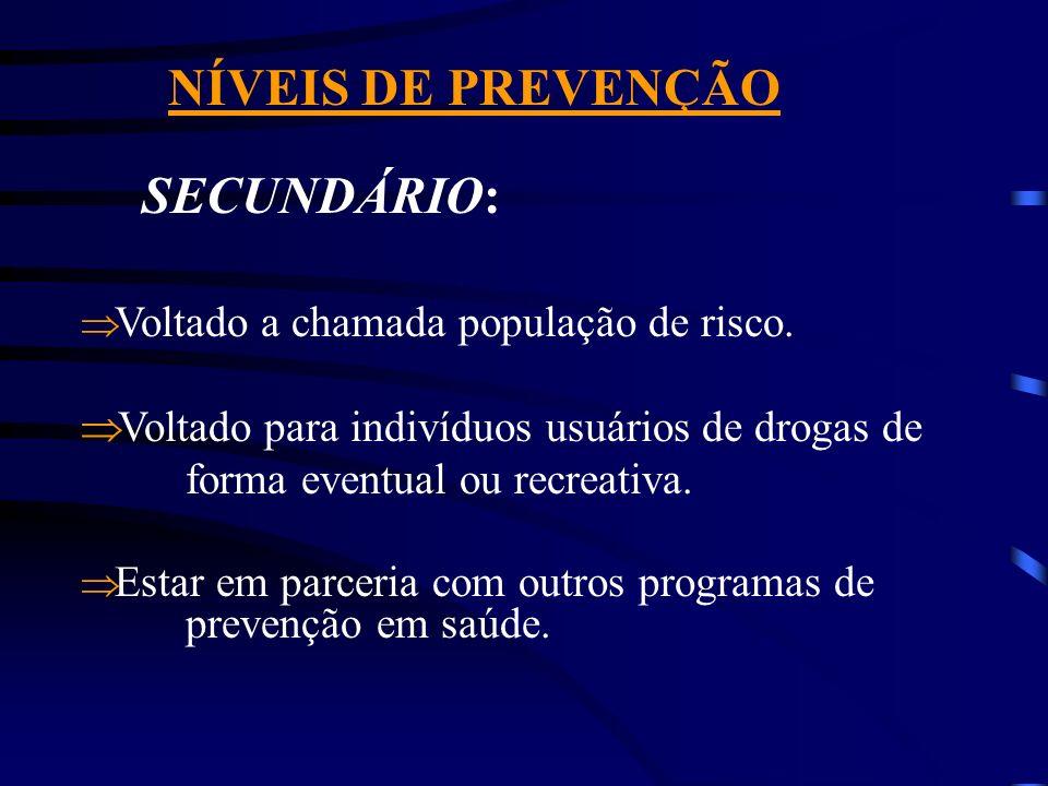 NÍVEIS DE PREVENÇÃO PRIMÁRIO: Objetiva evitar a experimentação de drogas. Processo informativo para pessoas que não fizeram uso de drogas - educação v