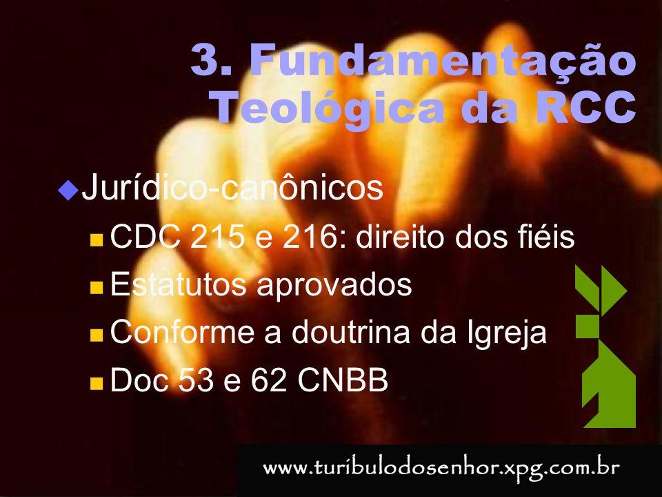 https://ministerioformacao.wordpress.com/ 3. Fundamentação Teológica da RCC Jurídico-canônicos CDC 215 e 216: direito dos fiéis Estatutos aprovados Co