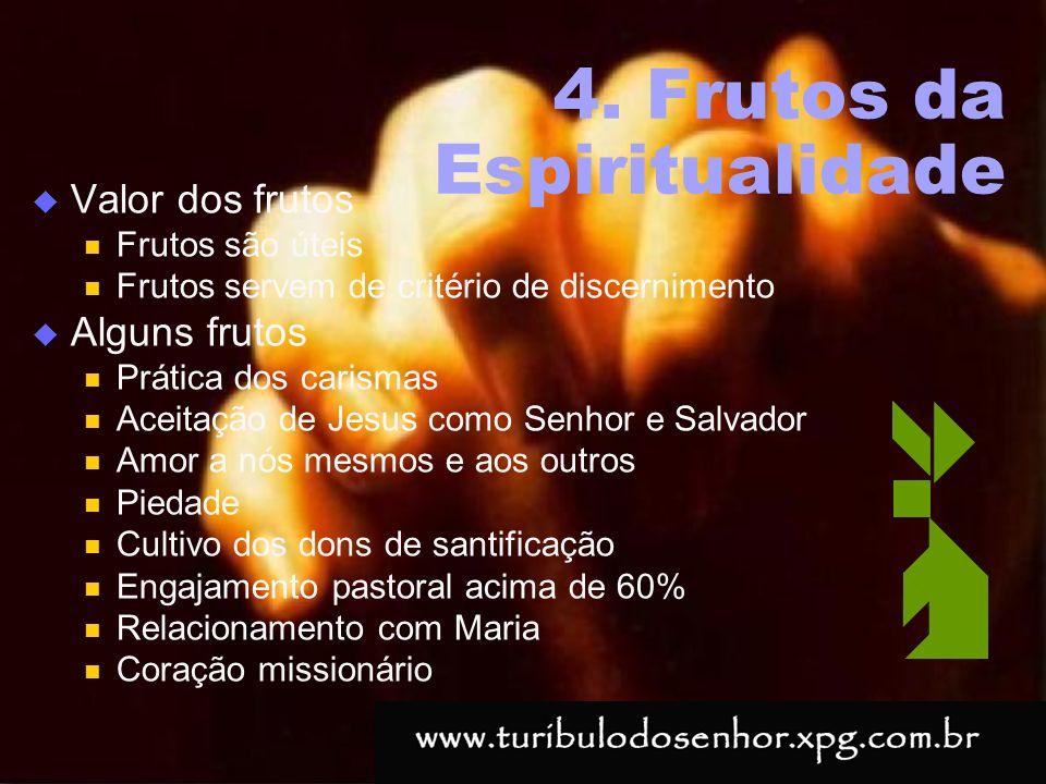 https://ministerioformacao.wordpress.com/ 4. Frutos da Espiritualidade Valor dos frutos Frutos são úteis Frutos servem de critério de discernimento Al
