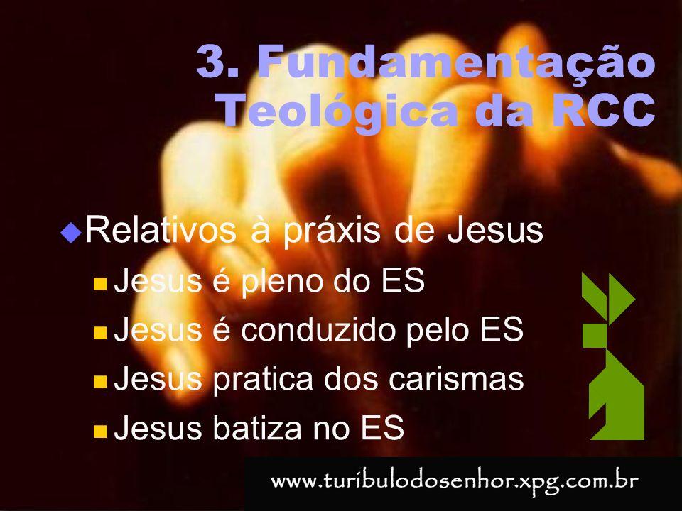 https://ministerioformacao.wordpress.com/ 3. Fundamentação Teológica da RCC Relativos à práxis de Jesus Jesus é pleno do ES Jesus é conduzido pelo ES
