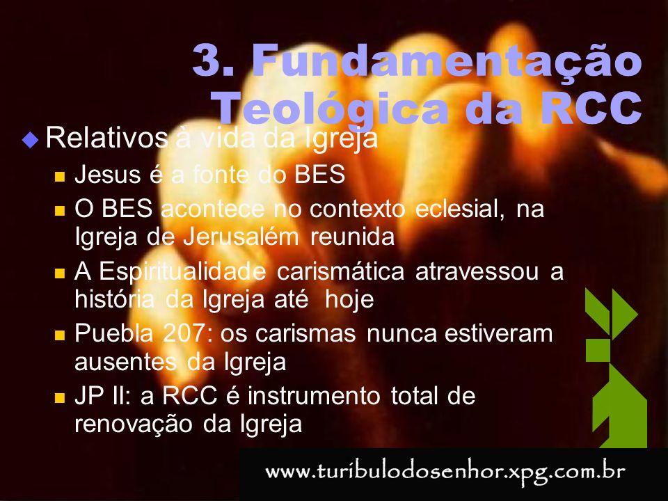 https://ministerioformacao.wordpress.com/ 3. Fundamentação Teológica da RCC Relativos à vida da Igreja Jesus é a fonte do BES O BES acontece no contex