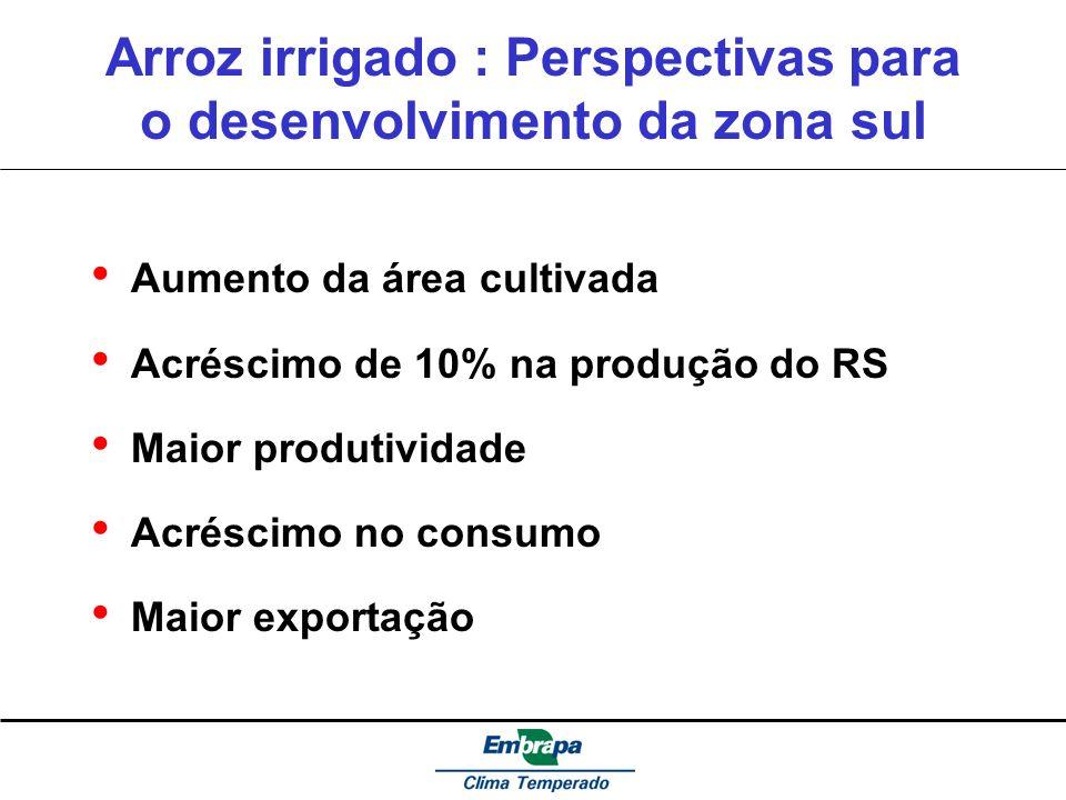Arroz irrigado : Perspectivas para o desenvolvimento da zona sul Aumento da área cultivada Acréscimo de 10% na produção do RS Maior produtividade Acré