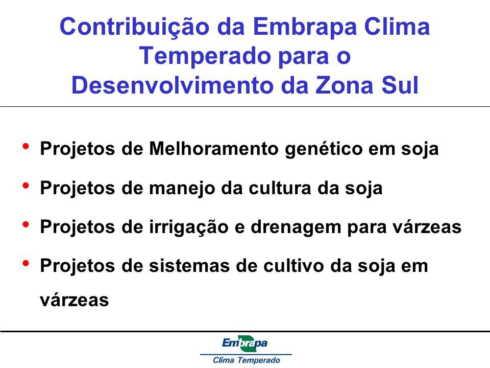 Contribuição da Embrapa Clima Temperado para o Desenvolvimento da Zona Sul Projetos de Melhoramento genético em soja Projetos de manejo da cultura da