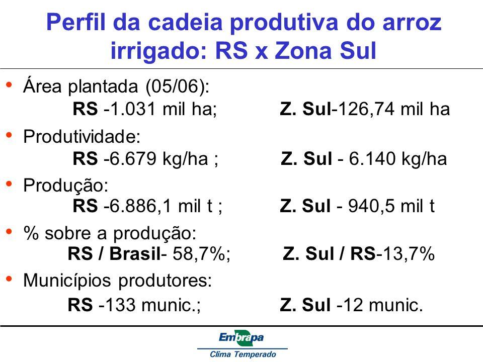 Perfil da cadeia produtiva do arroz irrigado: RS x Zona Sul Área plantada (05/06): RS -1.031 mil ha; Z. Sul-126,74 mil ha Produtividade: RS -6.679 kg/