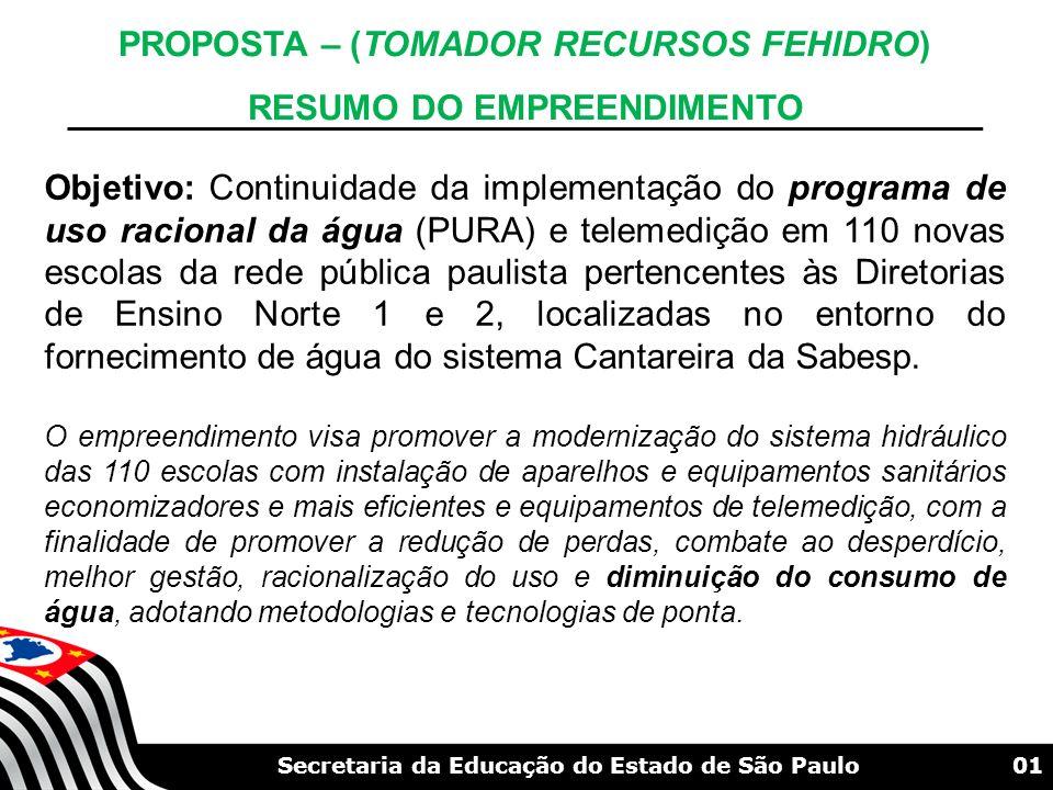 01Secretaria da Educação do Estado de São Paulo PROPOSTA – (TOMADOR RECURSOS FEHIDRO) RESUMO DO EMPREENDIMENTO Objetivo: Continuidade da implementação