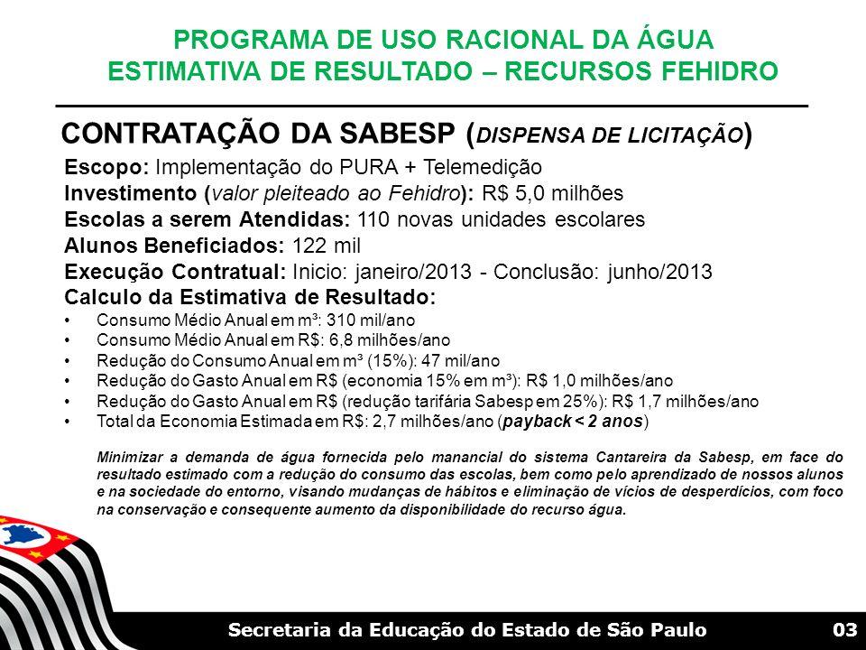 03Secretaria da Educação do Estado de São Paulo CONTRATAÇÃO DA SABESP ( DISPENSA DE LICITAÇÃO ) PROGRAMA DE USO RACIONAL DA ÁGUA ESTIMATIVA DE RESULTA