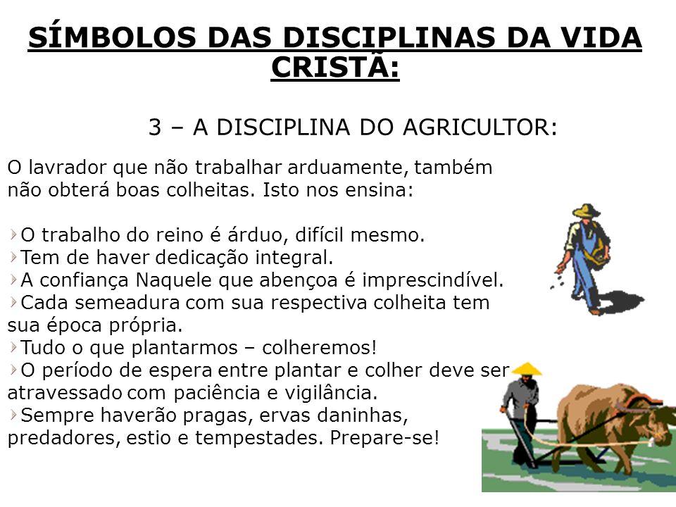 3 – A DISCIPLINA DO AGRICULTOR: SÍMBOLOS DAS DISCIPLINAS DA VIDA CRISTÃ: O lavrador que não trabalhar arduamente, também não obterá boas colheitas. Is