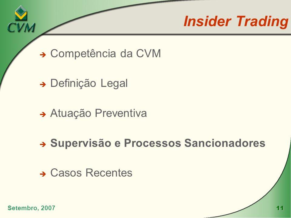 11 Insider Trading Setembro, 2007 è Competência da CVM è Definição Legal è Atuação Preventiva è Supervisão e Processos Sancionadores è Casos Recentes