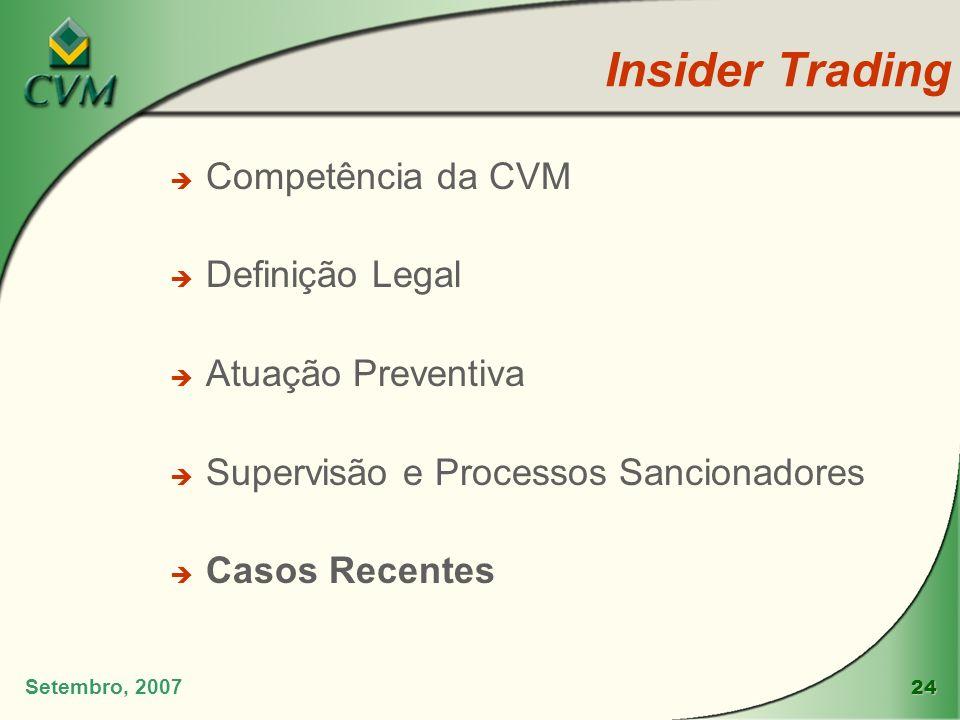 24 Insider Trading Setembro, 2007 è Competência da CVM è Definição Legal è Atuação Preventiva è Supervisão e Processos Sancionadores è Casos Recentes
