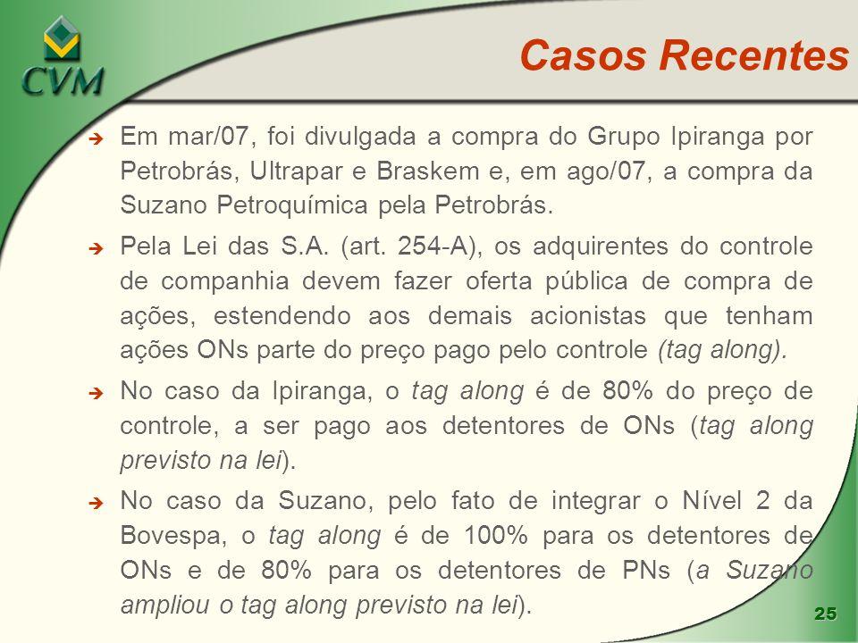 25 è Em mar/07, foi divulgada a compra do Grupo Ipiranga por Petrobrás, Ultrapar e Braskem e, em ago/07, a compra da Suzano Petroquímica pela Petrobrá