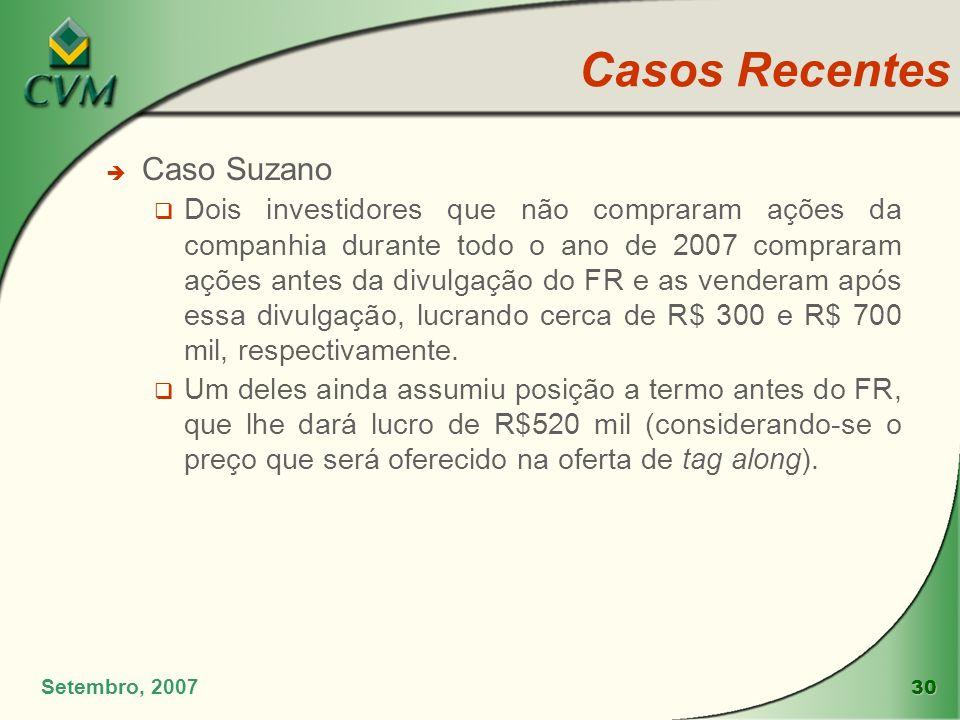 30 Casos Recentes è Caso Suzano Dois investidores que não compraram ações da companhia durante todo o ano de 2007 compraram ações antes da divulgação
