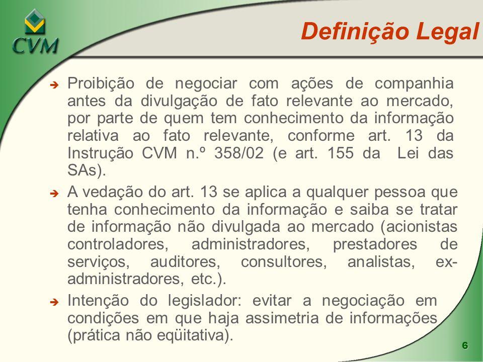 6 è Intenção do legislador: evitar a negociação em condições em que haja assimetria de informações (prática não eqüitativa). è è Proibição de negociar