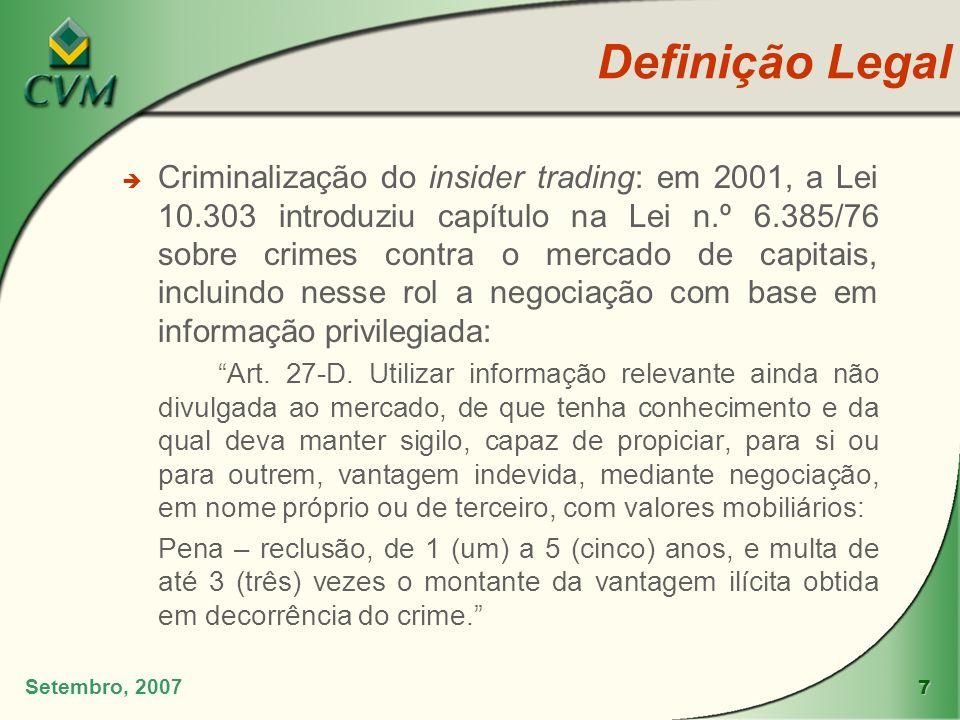 7 Setembro, 2007 è Criminalização do insider trading: em 2001, a Lei 10.303 introduziu capítulo na Lei n.º 6.385/76 sobre crimes contra o mercado de c