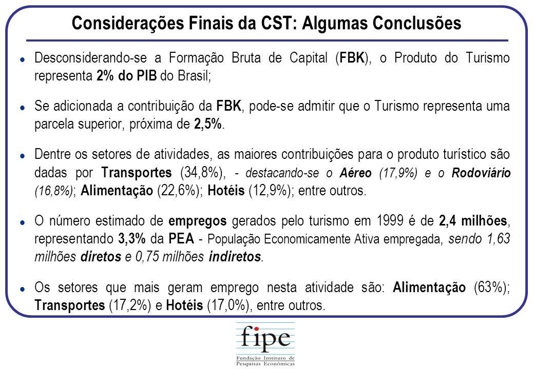 Considerações Finais da CST: Algumas Conclusões Desconsiderando-se a Formação Bruta de Capital ( FBK ), o Produto do Turismo representa 2% do PIB do B